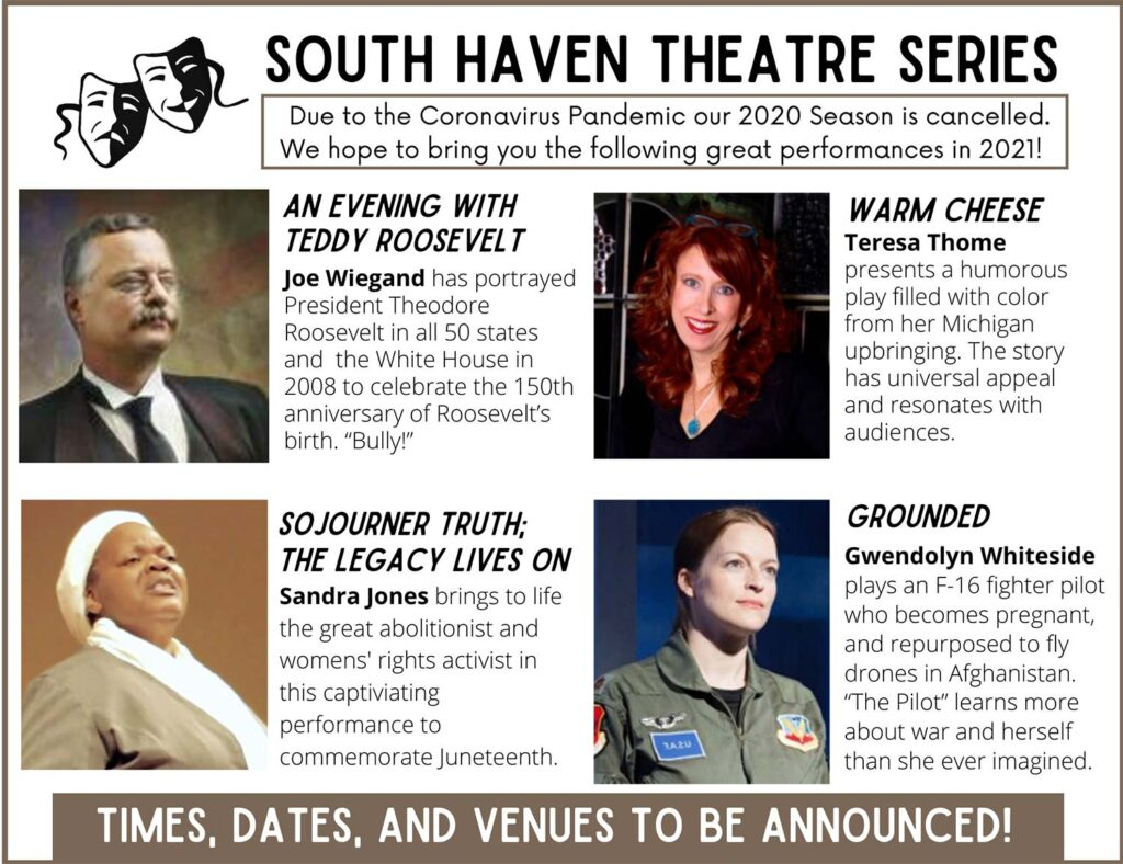 Due to the Coronavirus Pandemic our 2020 Season is canceled. We hope to bring you the following great performances in 2021!